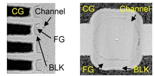 試作した半円形のセルの断面(左)と 平面(右)のTEM画像(出典:IEDMとキオクシア)