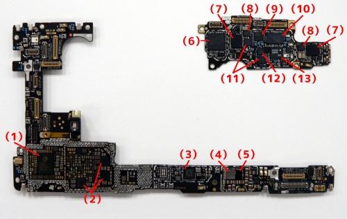 メイン基板の背面側。一部が2階建て構造になっており、写真右上が2階部分(片面実装、基板は台湾・華通電脳製)、左下が1階部分(両面実装、基板はオーストリアAT&S製)。(1)電源管理(ハイシリコン「Hi6421」)、(2)電源管理(ハイシリコン「Hi6422」)、(3)NFCコントローラー(オランダNXPセミコンダクターズ「80T37」)、(4)ワイヤレス充電(伊仏合弁STマイクロエレクトロニクス「BWL68」、(5)不明「HL1506F1」、(6)RFトランシーバー(ハイシリコン「Hi6365」)、(7)不明「429 h3830」、(8)不明「13HA XM36」、(9)RFフロントエンドモジュール(クアルコム「QDM2305」)、(10)パワーアンプ(ハイシリコン「Hi6D05」)、(11)ローノイズアンプ/RFスイッチ(ハイシリコン「Hi6H12」)、(12)ローノイズアンプ/RFスイッチ(ハイシリコン「Hi6H11」)、(13)不明「446」(写真:日経クロステック)