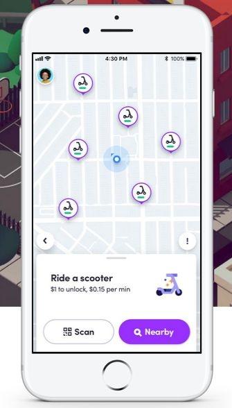 Lyft Scootersのアプリ画面の例