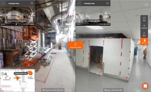 「Split View」機能で同じ地点での過去(左)の写真と、壁や天井を設置した後の写真(右)を比較できる。向きをそろえて中央のロックボタンで固定すると連動して動かせる