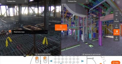 StructionSiteの画面。建設現場(左)とBIMモデル(右)を比較して見られる。画面下のオレンジ色のピンは360度写真が撮影された位置を示す。青色の三角形はスマホなどで撮影した写真の位置と向きを示す