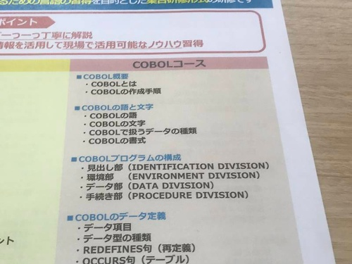 COBOL研修プログラムのパンフレット