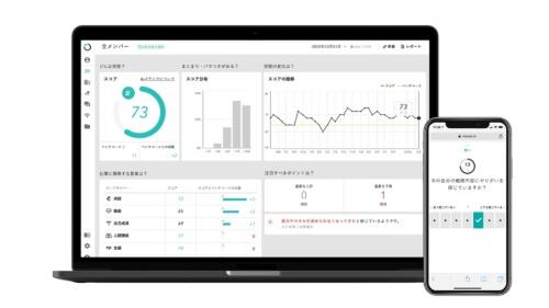 「wevox」の画面、スマートフォンなどから簡易アンケートに回答すると「エンゲージメントスコア」を算出できる