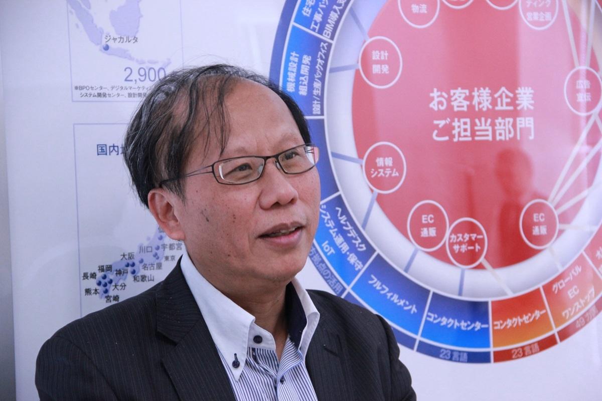 トランスコスモスの常務執行役員で、中国法人の大宇宙信息創造の董事長も務める中山国慶氏