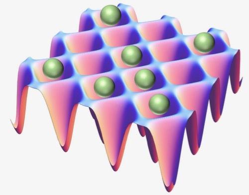 光格子時計の模式図。卵パック状の入れ物に原子を閉じ込める