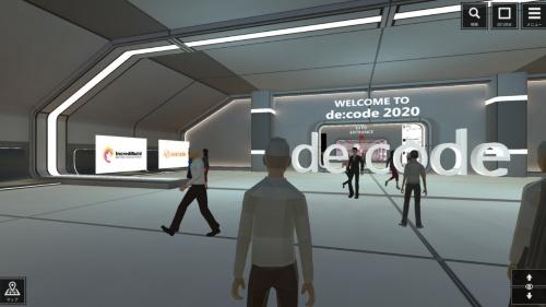 バーチャル空間で開催された「de:code 2020」の会場の様子