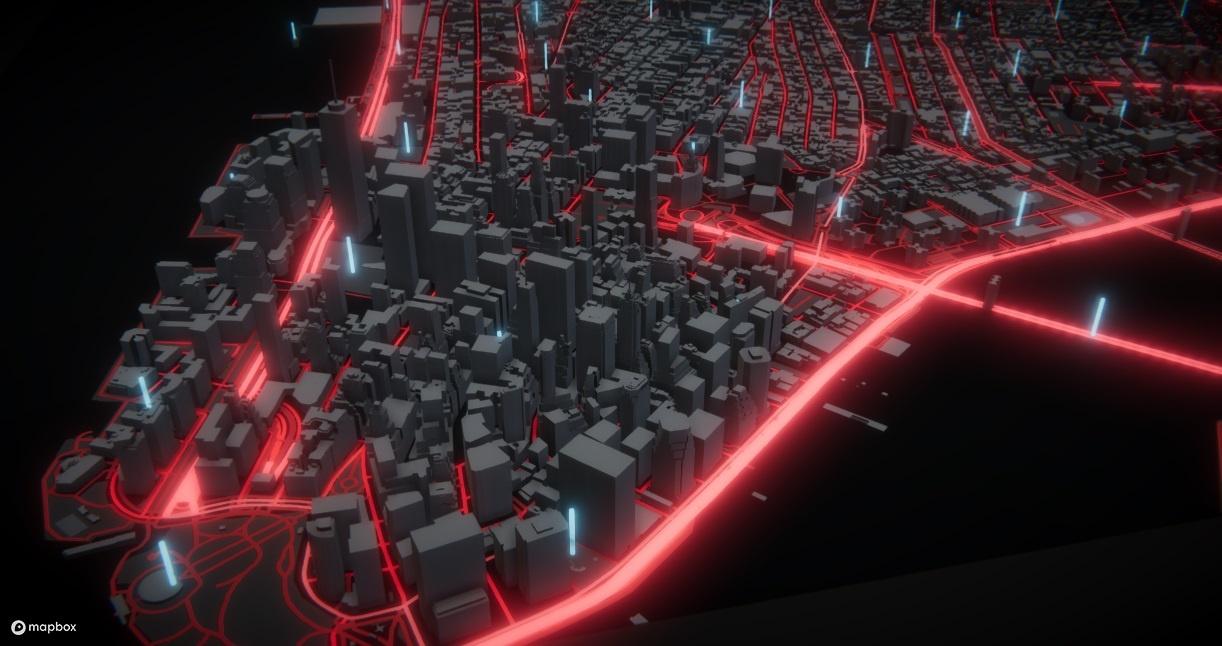 マップボックスの地図情報サービスの開発プラットフォーム。3次元など多彩な表現が可能だ