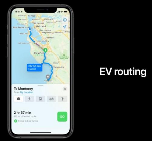 「iOS 14」で、マップによるEV向け経路案内を追加