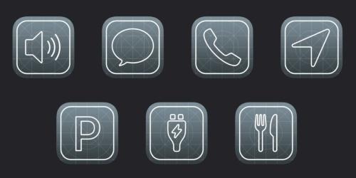 iOS14から新たに「EVの充電スタンド(EV charging)」、「駐車場(Parking)」「食事の注文(Quick food ordering)」を加えた。画面下側の3つのアイコンがそれらに相当する