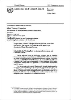 図2 「自動車線維持システムに関する車両の認可に関わる調和規定」の提案書の表紙