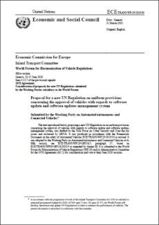 図4 「ソフトウエアアップデートとソフトウエアアップデート管理システムに関する車両の認可に関わる調和規定」の提案書の表紙