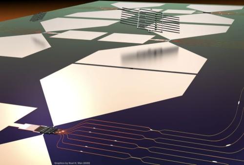 図1 今回の量子マイクロチップレット(QMC)と配線基板のイメージ
