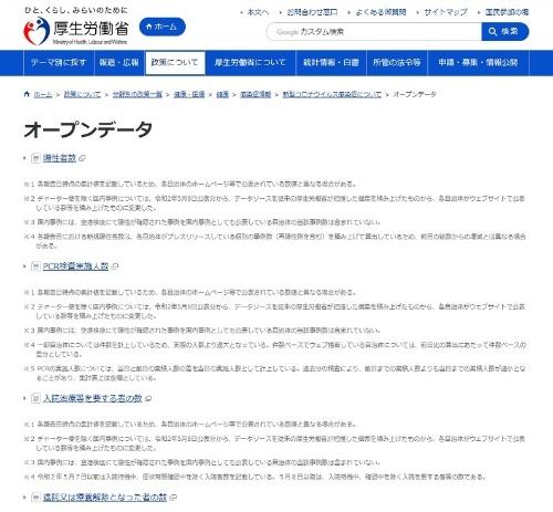 厚生労働省の新型コロナウイルスに関するWebページにあるオープンデータ提供ページ