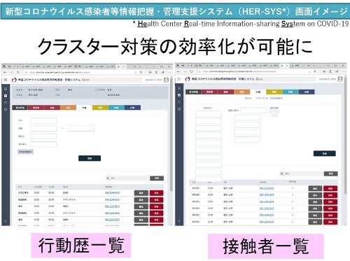 新型コロナウイルス感染者等情報把握・管理支援システム(HER-SYS)の画面例