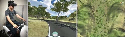 実証実験に使ったVRシミュレーターと映像。加減速しながら走行する。(出所:静岡大学)