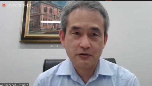 オンラインで実施した報道機関向け発表会で研究成果を紹介する京都大学の木本氏