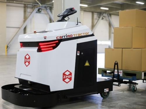 図1 ZMPが開発した可搬質量2.5トンの電動無人けん引車「CarriRo Tractor 2.5T」