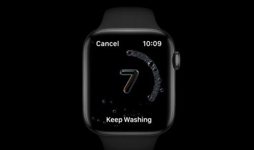 手を洗う時間が短い際に、もっと続けるよう促す