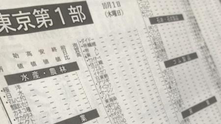 障害翌日朝刊の株式相場表。値付かずを示す「―」で埋め尽くされた