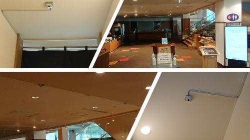 ホテル内に設置したカメラ。右上はフロントの様子