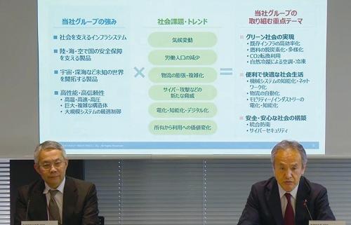 三菱重工業社長の泉沢清次氏(右)