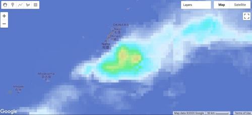 JAXAのGSMaPによる沖縄近辺の降雨の様子