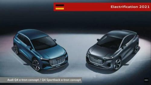 図3 小型SUVタイプのEV「Q4 e-tron concept」(左)と同「Q4 Sportback e-tron concept」(右)