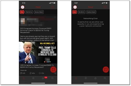 Parlerの画面(左)と、サービスが利用できなくなった状態の画面。「Networking Error」と表示され、タイムラインは表示されない