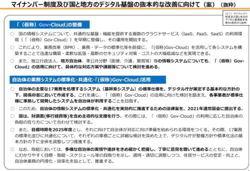 政府が公表したGov-Cloudと自治体の取り組みに関する計画の概要。総務省が2020年12月に公表した自治体DX推進計画から抜粋