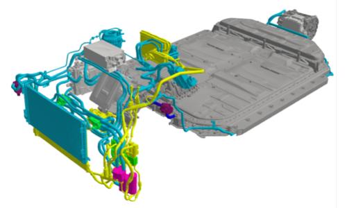 図3 アウディ「e-tron」の熱マネジメントシステムの全体像