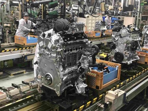 ガソリンエンジンの生産ライン