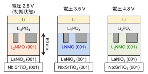 図2 試作した電池セルにおける正極材での充放電に伴うLiイオンの出入り