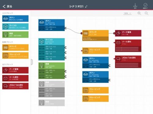 管理端末の動作シナリオ設定画面