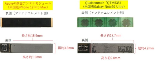 図2 左側がAppleの側面アンテナモジュールで、右側がQualcommのQTM535