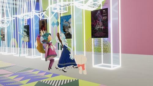 展示会場内にずらりと並ぶ作品のポスター