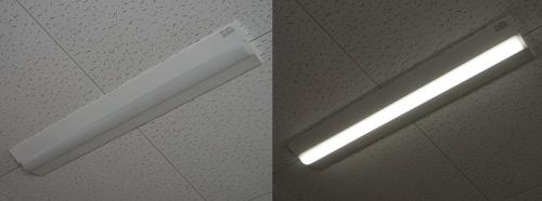 図2 天井に取り付けて使うLEDベースライト