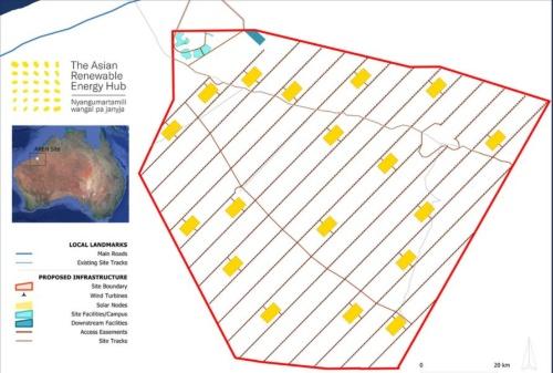 オーストラリア北西部での大規模グリーン水素/アンモニアの生産計画「Asian Renewable Energy Hub(AREH)」における太陽光発電と風力発電システムの配置イメージ
