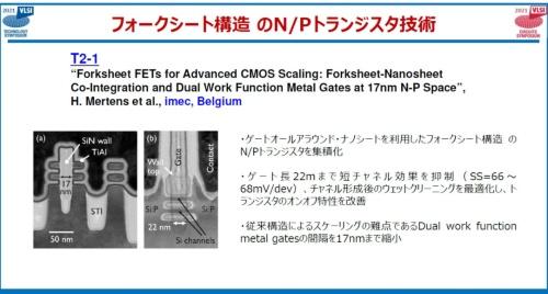 imecの「フォークシート構造のN/Pトランジスタの集積」