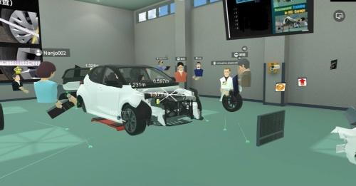 自動車損害調査に関する研修用のVR空間に配置した自動車の3次元CG。部品形状など細かなところまで再現してある