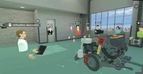 研修用のVR空間に配置した装置類だけの自動車の3次元CG。自動車の構造などを教えるときなどに役立てている
