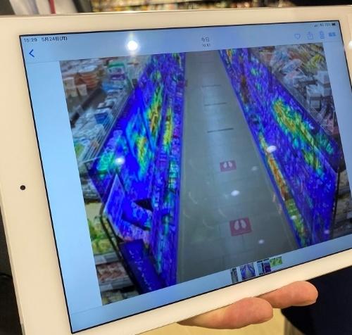 来店客の動線やどれぐらい棚を見たかなどを可視化できる