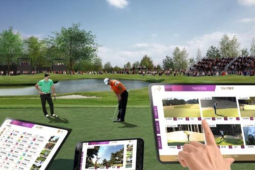 ゴルフ競技における5Gプロジェクト。マルチライブ中継によるサービスのイメージ(資料:Tokyo 2020、画像作成協力:NTTドコモ)