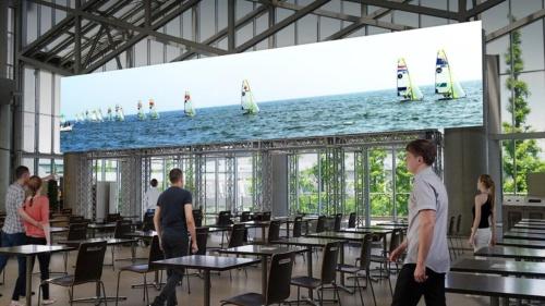 東京ビッグサイトのメインプレスセンターに設置するワイドビジョンのイメージ(資料:Tokyo 2020、画像作成協力:NTT)