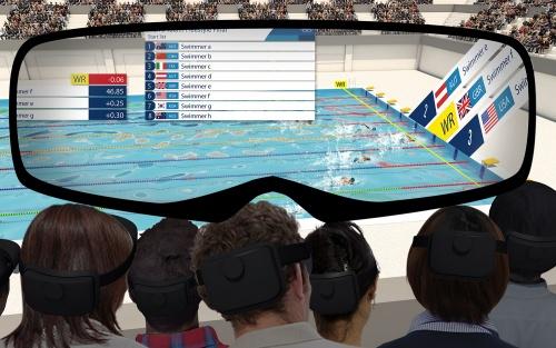 競泳における5Gプロジェクト。ARデバイスによるサービスのイメージ(資料:Tokyo 2020、画像作成協力:NTTドコモ)
