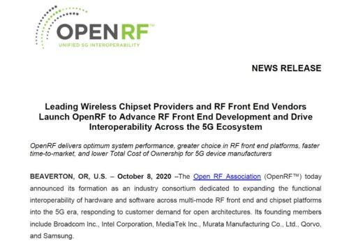 OpenRFの設立に関するプレスリリース