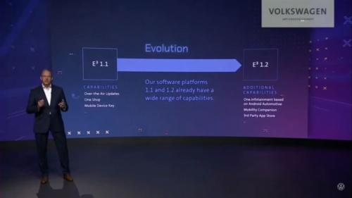 図5 高級車向けのソフトPFとなるE3 1.2は統一のインフォテインメントシステムなどを提供する