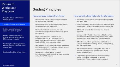 米IBMのReturn to Workplace基本方針。感染状況などに応じて随時更新している