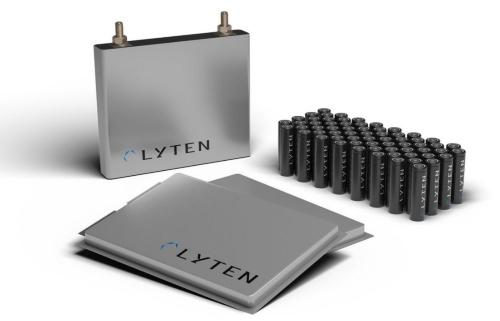 Lytenが製造可能とするLi-S電池3タイプ(角形、円筒形、パウチ)