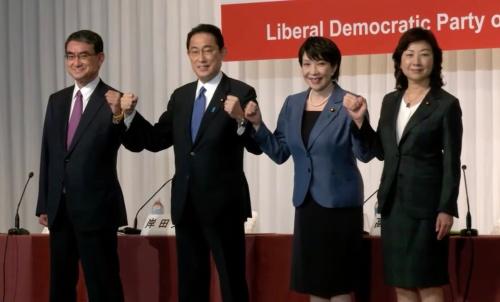 総裁選に出馬した4候補(2021年9月17日の出馬会見)
