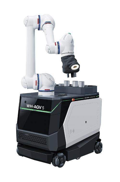 自律走行型のAGVに協働ロボットを搭載した「WH-AGV 5」